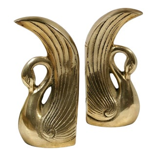 Vintage Art Deco Solid Brass Swan Bookends Paperweights - a Pair For Sale