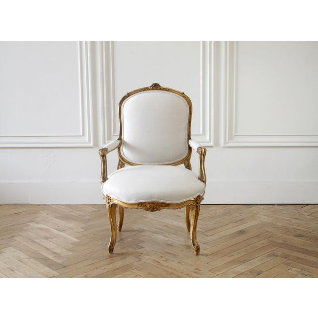 French Country 19th Century Carved Giltwood French Louis XV Style Open Arm Chairs For Sale - Image 3 of 13