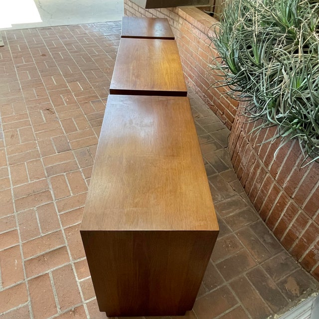 Henredon 'Circa 60' Walnut Cabinets - Set of 3 For Sale - Image 10 of 13