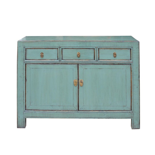 Asian Distressed Rustic Teal Gray Credenza Sideboard Buffet Table Cabinet For Sale - Image 3 of 9