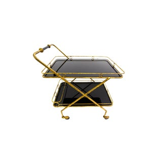 Art Deco Gilt Wrought Iron and Black Glass Italian Bar Cart For Sale