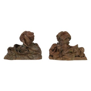 Pair of Modern Bronze Abstract Animal Figures For Sale