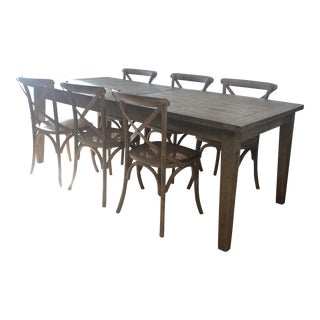 Rustic Restoration Hardware Dining Set - 9 Pieces For Sale
