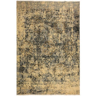 Abstract Modern Elena Ivory/Blue Wool Rug - 8'0 X 10'3 For Sale