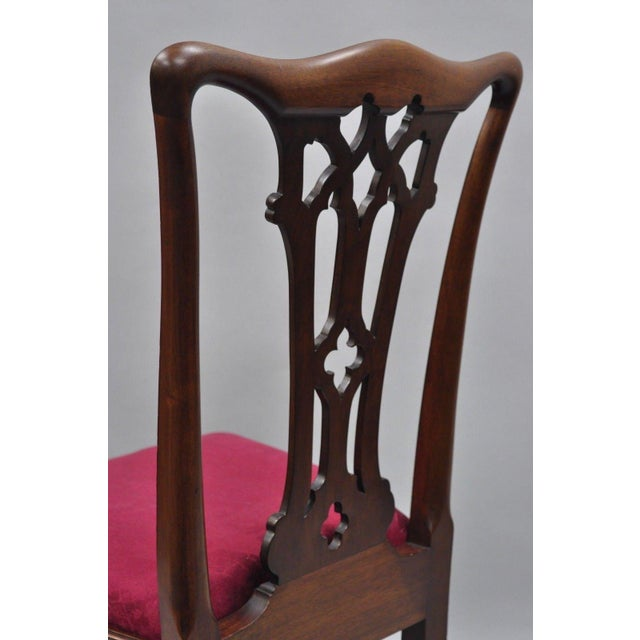 T. Robinson & Sons Makers Antique Solid Mahogany Chippendale Style Side Chairs - a Pair For Sale - Image 10 of 13