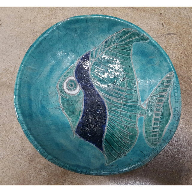 Fish Glazed Pottery Bowl - Image 2 of 3