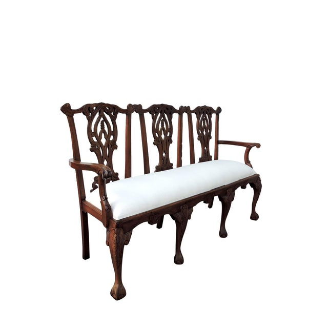 Beautiful antique 'Chippendale' mahogany bench/settee refinished and newly upholstered in a natural off white/cream...