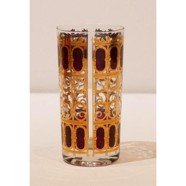 """Culver, Ltd. 22k Gold """"Cranberry Scroll"""" Cocktail Glasses. This is the perfect gift for the holidays. Cranberry and Gold,..."""