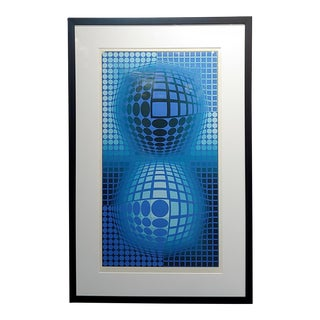 Victor Vasarely -Double Blue Spheres -Original Color Screenprint -Pencil Signed For Sale
