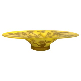 1970 Austrian Vintage Art Nouveau Style Yellow Glass Bowl With Brown Rose Leaves For Sale