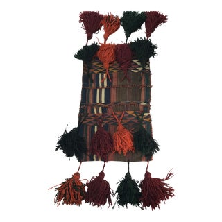 Vintage Kilim Camel Saddle Bag With Extra Large Tassels For Sale