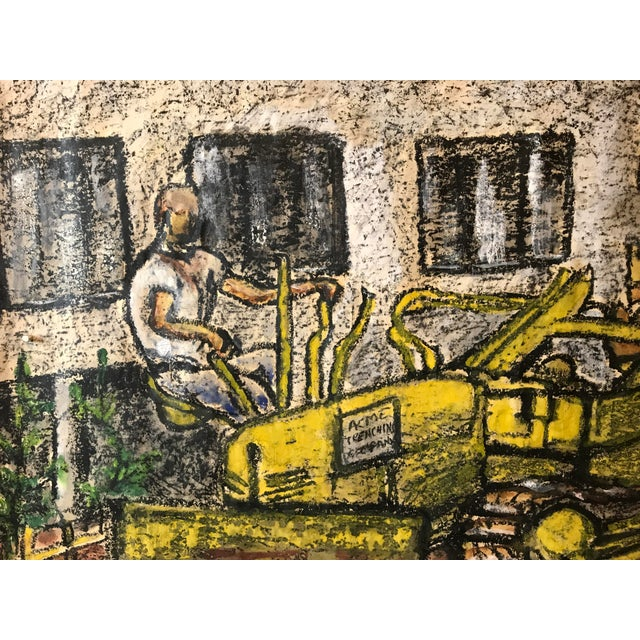 """Gloria Dudfield Tractor at Work 6-10-64 Gouache and Oil Pastel on Paper 36""""x32 1/2"""" Unframed Signed and dated lower right..."""