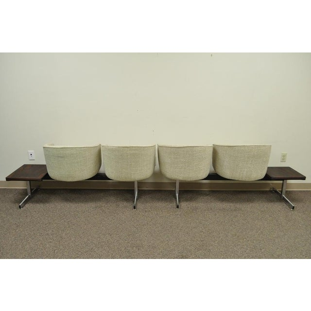 Brown Vintage Mid-Century Danish Modern Rosewood End Tables Club Chairs Sectional Sofa - 2 Piece For Sale - Image 8 of 13