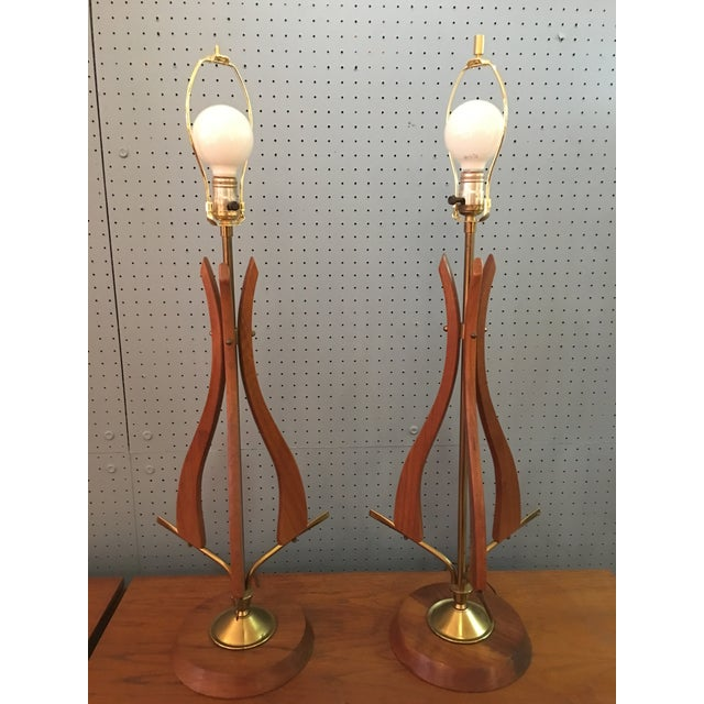 1960s Scandinavian Modern Walnut Table Lamps - a Pair For Sale - Image 10 of 10