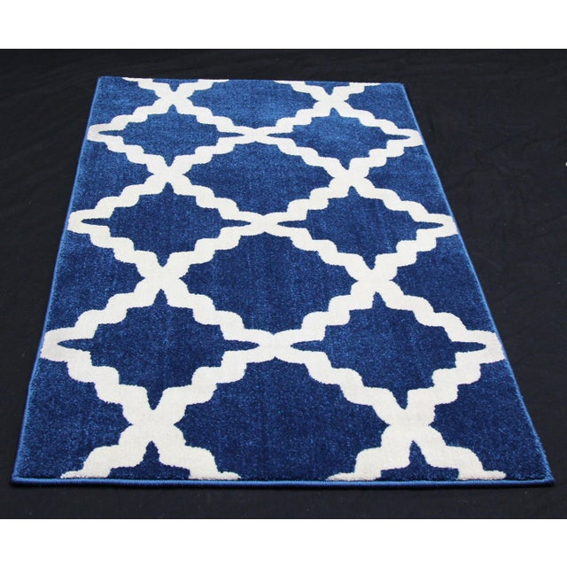 "Blue Trellis Pattern Rug - 2'8"" X 5' - Image 2 of 3"