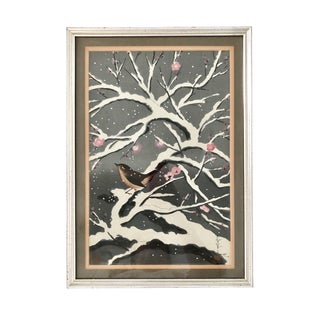 """Bird on a Snowy Cherry Tree"" Japanese Woodblock Print by Bakufu Ohno For Sale"