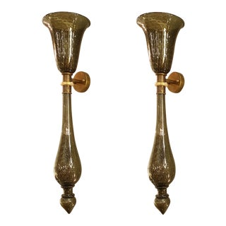 1960s Mid-Century Modern Venini Style Gray/Gold Murano Glass Sconces - a Pair For Sale