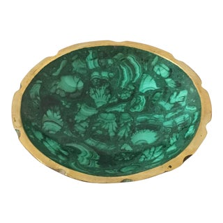 Brass Trimmed Round Malachite Bowl For Sale