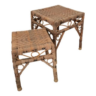 Vintage Hand Woven Rattan Accent Tables - A Pair