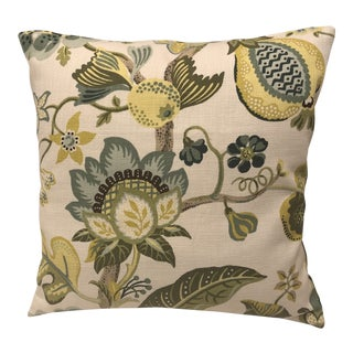 Custom Down Pillow in Citron and Tropical Print For Sale
