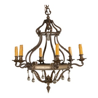 Dutch Bronze and Glass Six Arm Chandelier For Sale