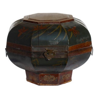 Chinese Brown Green Golden Graphic Octagon Wood Bucket Basket For Sale