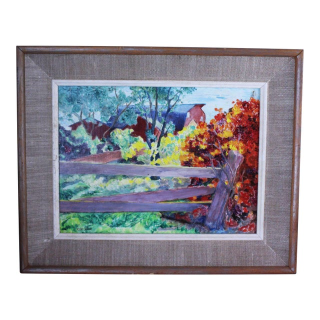 """1930s """"Burning Bush"""" Oil Painting by Ede-Else For Sale - Image 5 of 5"""