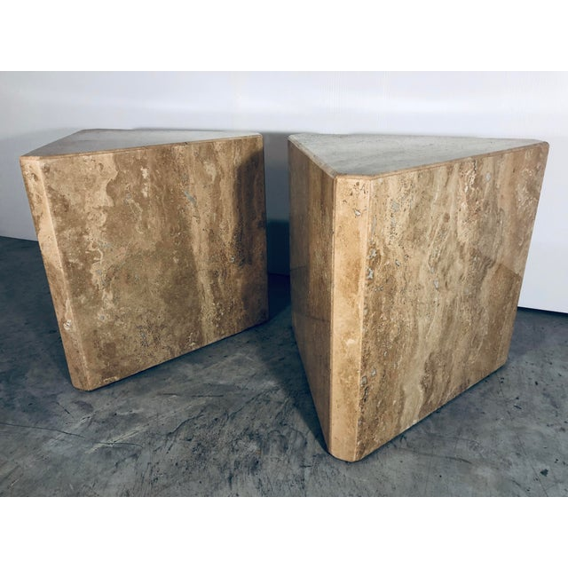 Italian 1970s Mid-Century Modern Pair of Italian Travertine Pedestal or Side Tables For Sale - Image 3 of 10