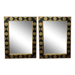 1970s Hollywood Regency Moroccan Mirror With Filigree Brass Inlay on Ebony - a Pair For Sale