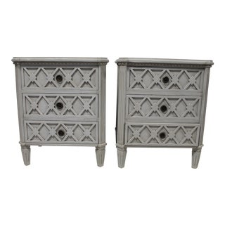 20th Century Swedish Gustavian Bedside Chest of Drawers - a Pair