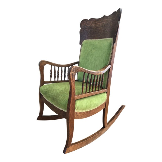 Late 19th Century Antique Oak Wood Mortise and Tenon Upholstered Rocking Chair For Sale