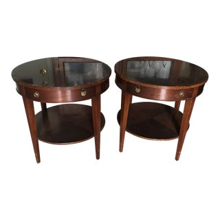 1990s Traditional Round Mahogany Bombay Diamond Design Inlay Side Tables - a Pair For Sale