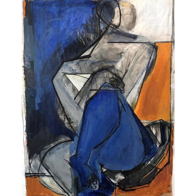 Cubist-Like Charcoal Figurative Drawing/Painting on Photo For Sale
