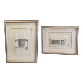 18th Century Architectural Engravings by Giovanni Battista Borra - Set of 2 For Sale