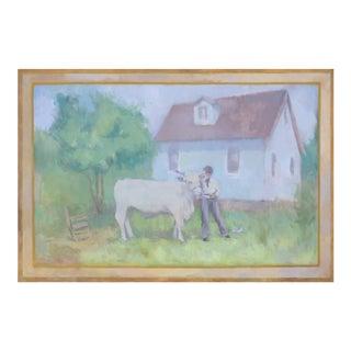 Michelle Farro Original Farm Scene Canvas Painting For Sale