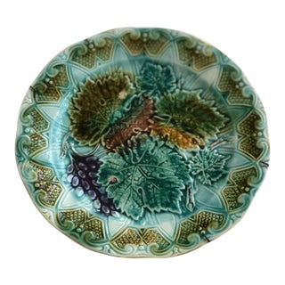 19th Century Antique French Majolica Grape Leaf Plate For Sale