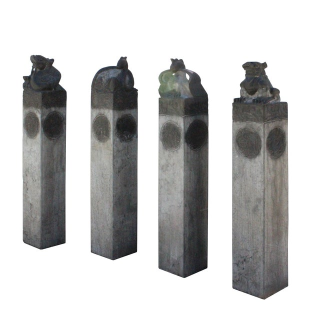 Chinese Set Gray Black Color Stone Fengshui Four Symbols Tall Slim Pole Statue For Sale In San Francisco - Image 6 of 10
