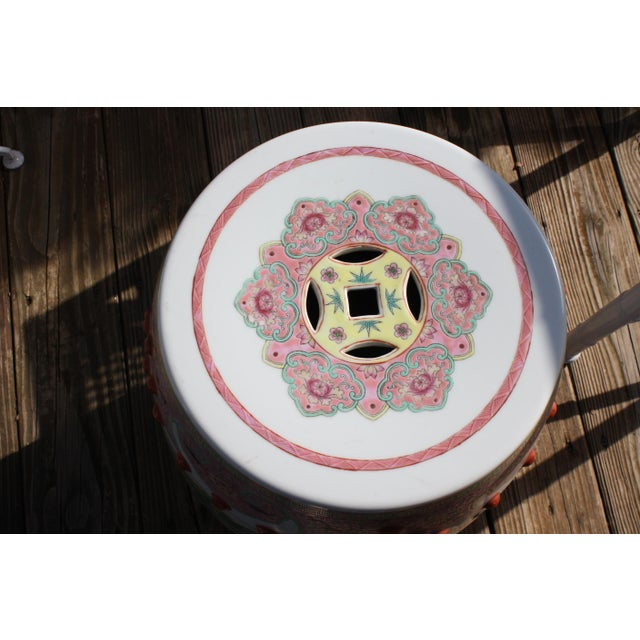 Asian Chinese Famille Rose Porcelain Peacock Garden Seat For Sale - Image 3 of 13