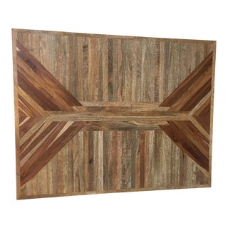 Rustic Geometric Wooden Wall Sculpture For Sale