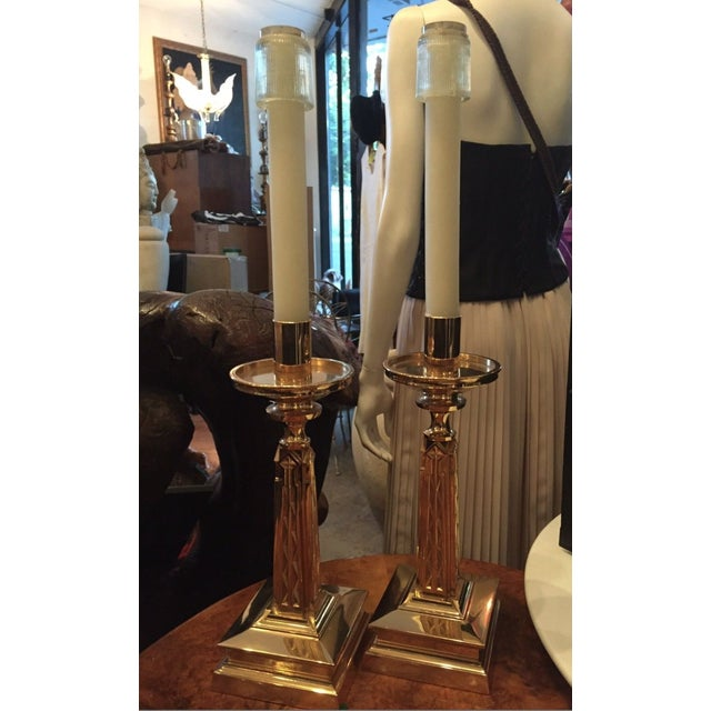 Gold Plate Bronze Candlesticks Nouveau Goth-A Pair - Image 3 of 9