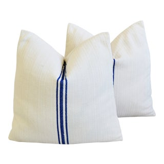 "Navy Blue & White French Herringbone Grain Sack Feather/Down Pillows 18"" Square - Pair For Sale"