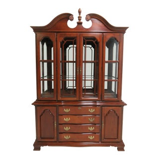 Lexington Chippendale Cherry Hutch China Cabinet Breakfront