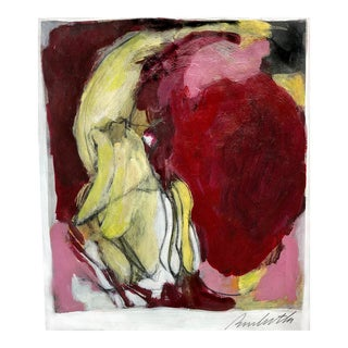 Small Contemporary Magenta & Lemon Abstract Painting on Paper For Sale