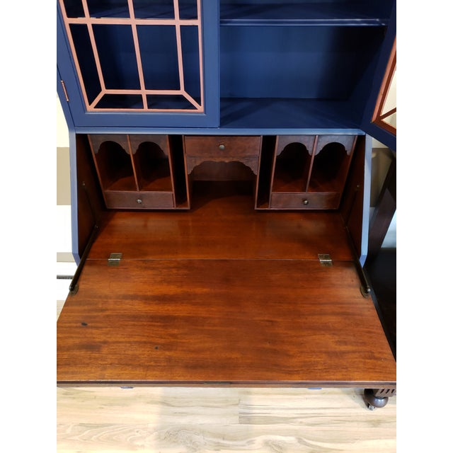 20th Century Chippendale and Sheraton Revival Slant Front Secretary Desk For Sale - Image 10 of 13