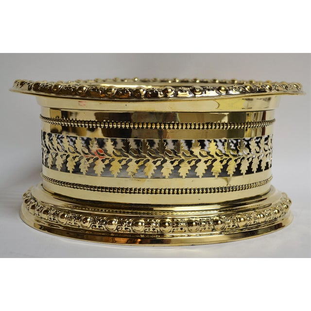 Late 19th Century Antique English Brass Openwork Jardiniere For Sale - Image 5 of 5