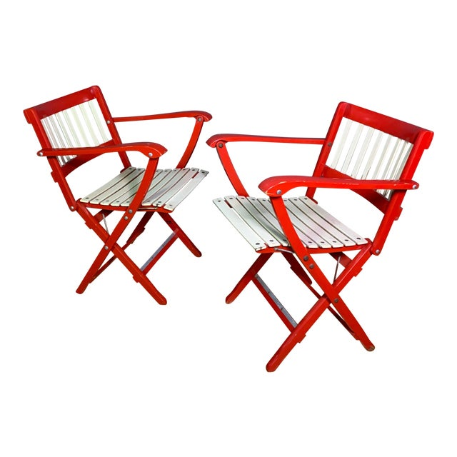 Pair Fratelli Reguitti Lacquered Folding Chair, Italy 1960s For Sale