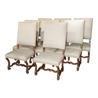 Set of 8 Large Carved Fruitwood Os De Mouton Dining Chairs For Sale