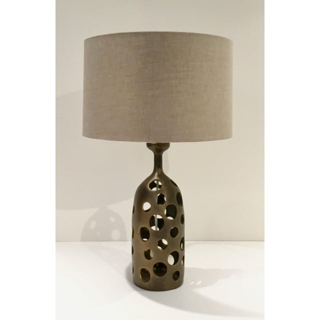 2010s Arteriors Modern Antique Brass Pierce Table Lamp With Shade For Sale - Image 5 of 5