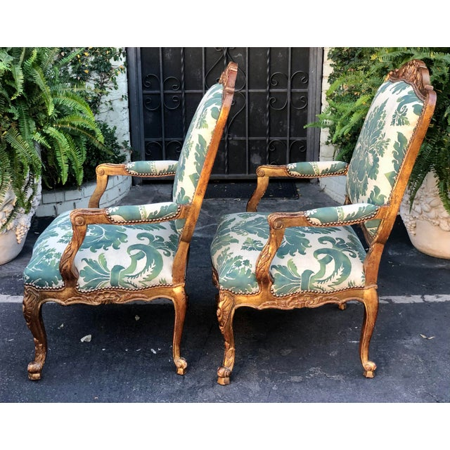 1980s Minton-Spidell Mariano Fortuny Louis XVI Bergere Chairs - a Pair For Sale - Image 5 of 8