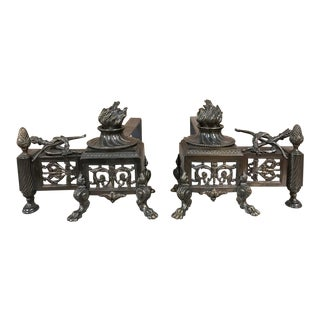 Pair 19th Century French Louis XVI Bronze Andirons For Sale